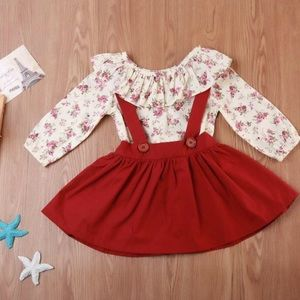 Little girls overall skirt outfit red rose